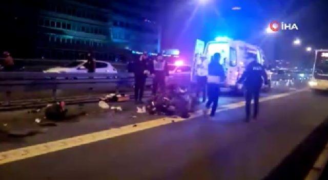 Şişli'de metrobüs yoluna giren motosiklete metrobüs çarptı. Kazada motosikletli ağır yaralanarak hastaneye kaldırılırken, metrobüs seferlerinde aksamalar yaşandı.