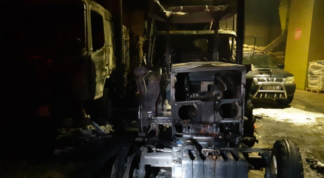 Park halindeki 2 kamyon ve traktör yandı