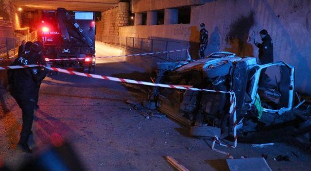 Takla atan otomobil istinat duvarına çarptı: 2 ölü
