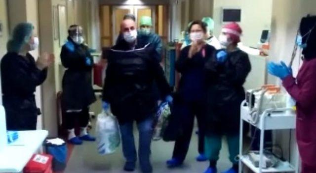 Koronavirüs tedavisi bitti, hastaneden alkışlarla uğurlandı