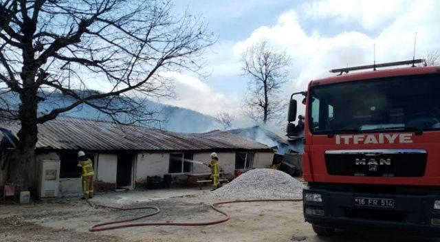 Mustafakemalpaşa'da mermer ocağında yangın çıktı