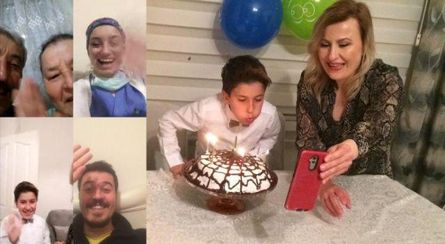 Sağlıkçı anne baba çocuklarının yaş gününü görüntülü kutladılar
