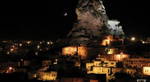 Kapadokya Bölgesinin gece görüntüsü hayran bıraktı