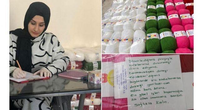 Örgü örerek ev ekonomilerine katkı sağlayan kadınlara kadın girişimciden destek