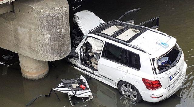 Silivri'de köprüden düşen cipin sürücüsü hayatını kaybetti