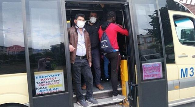 14 kişilik minibüste 30 kişi! Sosyal mesafesiz yolculuk