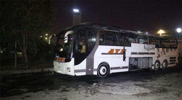 Yolcu otobüs alev alev yandı