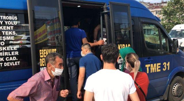 Sosyal mesafesiz yolcu taşımacılığı sürüyor: 12 yerine 37 yolcu çıktı
