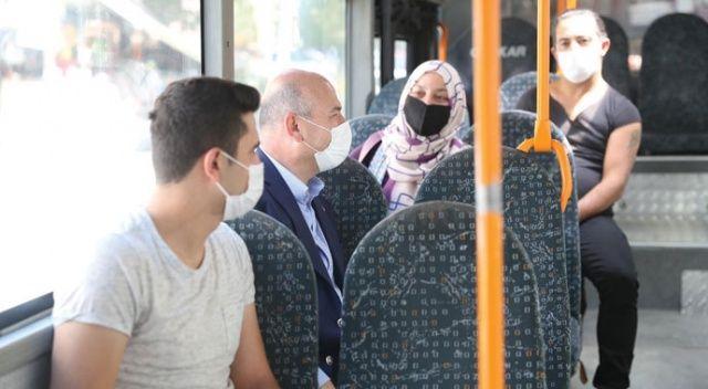 Bakan Soylu'dan yakın markaj denetim! Halk otobüsüne binip vatandaşı uyardı