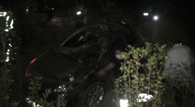 Çankırı'da otomobil 150 metreden uçuruma yuvarlandı