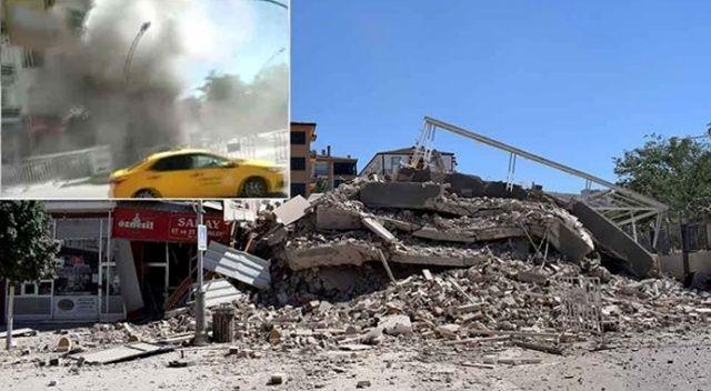 Depremde zarar gören bina yıkım sırasında çöktü