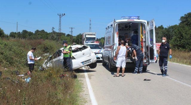 Tekirdağ'da otomobil takla attı: 4 yaralı