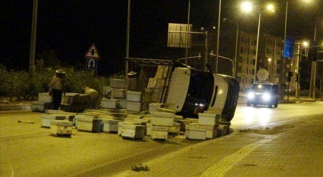 Arı kovanı taşıyan kamyon kaza yaptı! Kovanlar etrafa saçıldı