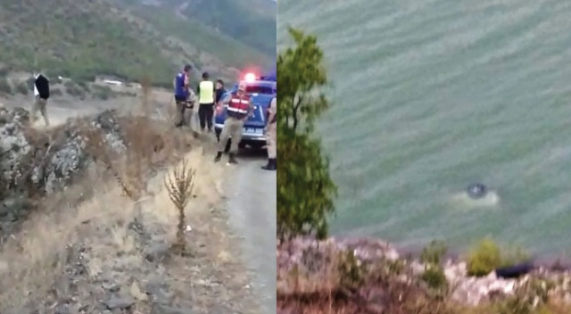 Baraj gölüne uçan araçtan sağ kurtarıldılar