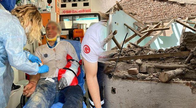 Faciadan dönüldü! Yıkılan binadan kopan parçalar işçinin üstüne düştü