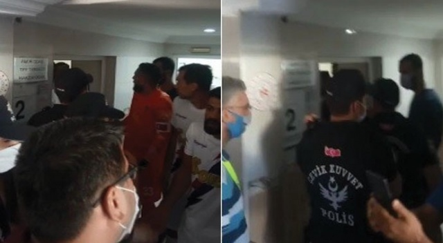 Futbolcular hakem odasına girmeye kalktı