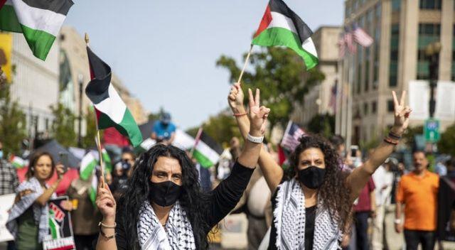 İsrail-BAE anlaşması Beyaz Saray etrafında protesto edildi