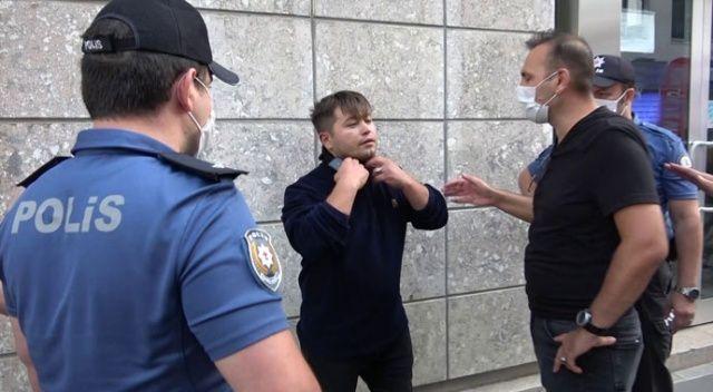 Maskesiz şahıstan polise tehdit: Sen zor kullan, o zaman görüşürüz