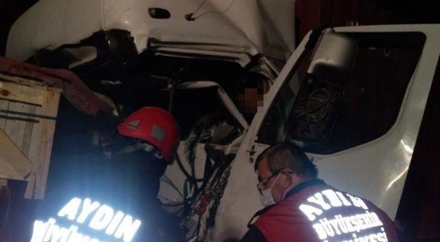 Aydın'daki feci kazada tır sürücüsü hayatını kaybetti