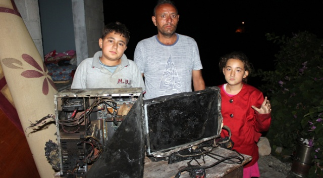 Evi yanan aile yardım eli bekliyor