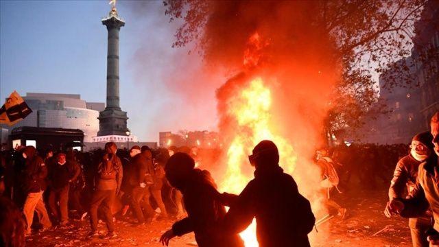 Fransa'da güvenlik yasa tasarısı ve polis şiddetinin protesto edildiği gösterilerde olaylar çıktı