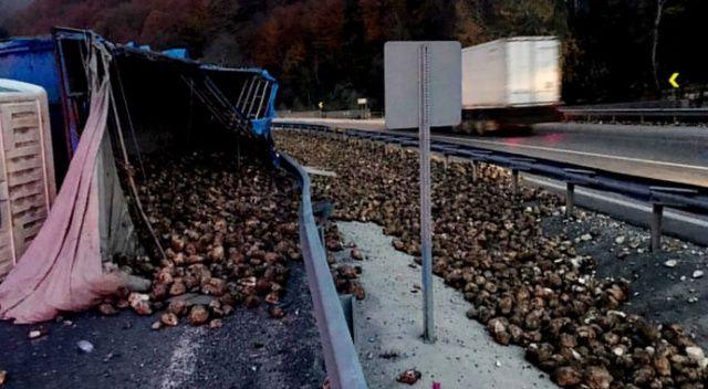 Pancar yüklü tır devrildi, 20 ton pancar yola saçıldı