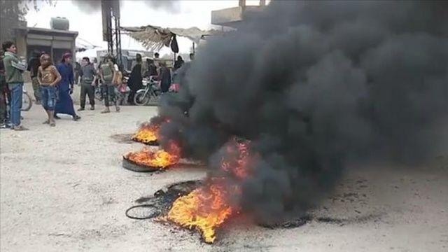 Deyrizorlu Araplar terör örgütü YGP/PKK'nın halkı yakıttan mahrum bırakmasını protesto etti