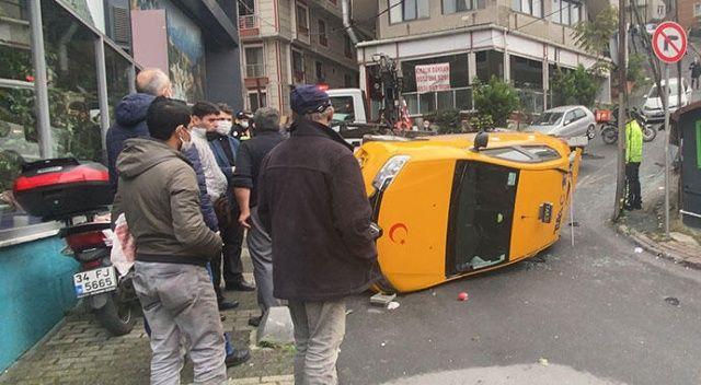 Takla atan taksi 30 metre sürüklendi