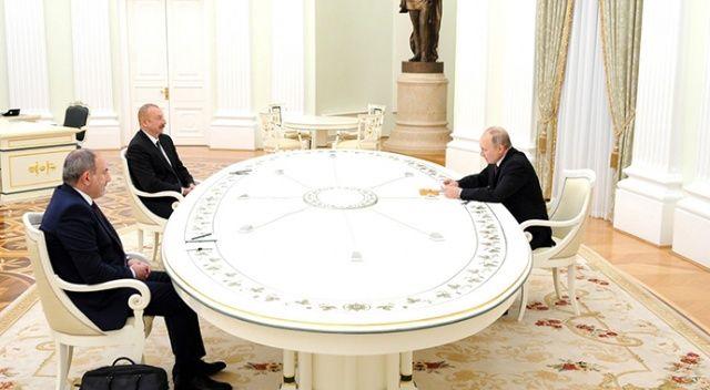 Aliyev, Putin ve Pashinyan Moskova'da bir araya geldi