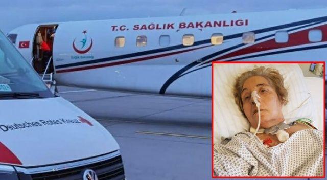Almanya'ya sağlıklı geldi, ambulans uçakla döndü