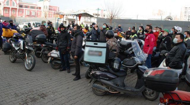 Motorlu kuryelerden 'site' eylemi