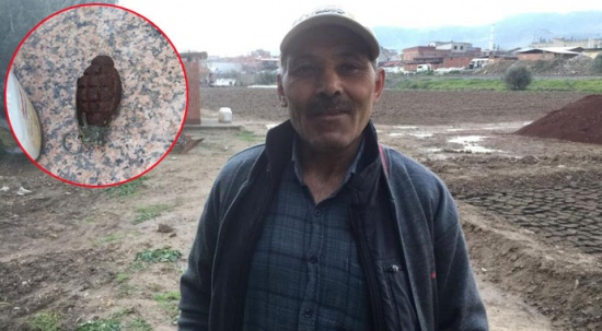 Bahçesine fidan dikerken el bombası buldu
