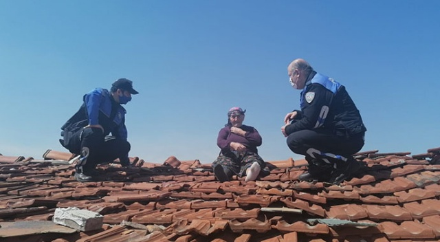 Alzaymır hastası yaşlı kadın çatıya çıkınca polis harekete geçti