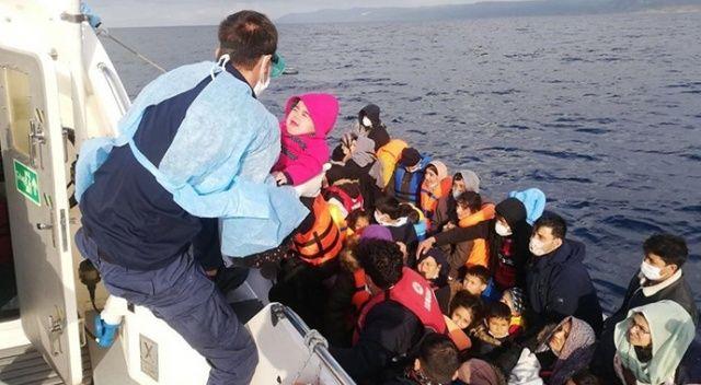 Çanakkale açıklarında 110 düzensiz göçmen kurtarıldı