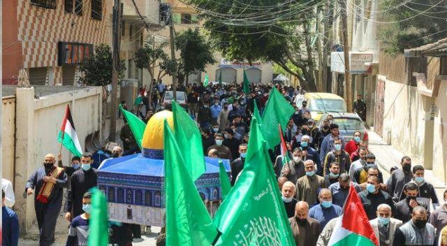 Gazze'de İsrail saldırılarına karşı Kudüs ve Mescid-i Aksa'ya destek gösterisi