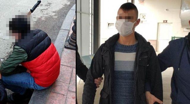 Kavgada bir kişinin kafasına ekmek bıçağı saplayan genç tutuklandı