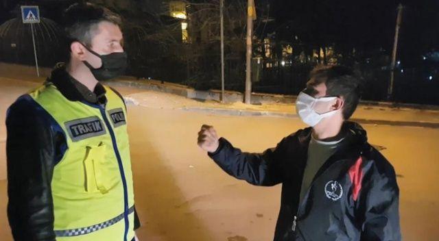 """Kısıtlamada alkollü yakalandı, """"kanundan ve polisten kaçış yok"""" dedi"""