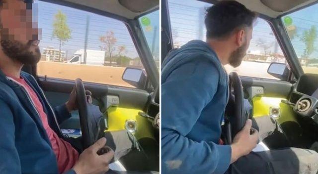 Otomobilin direksiyonunu çıkarttı hem kendi hem de diğer sürücülerin canını hiçe saydı