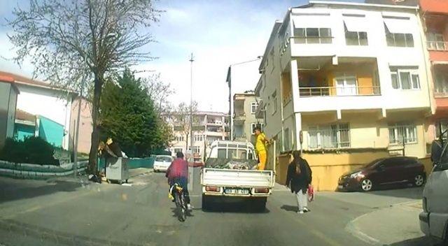 Bisikletiyle ölümüne yolculuk kamerada: Uyaranlara tepki gösterdi