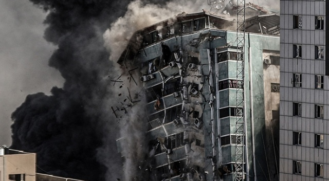 İsrail'in medya binasını yerle bir ettiği saldırıdan ürperten detay