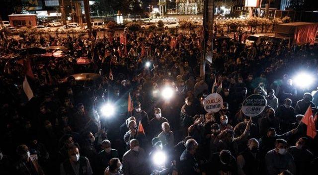 İsrail'in saldırıları İstanbul Başkansolusluğu önünde protesto edildi