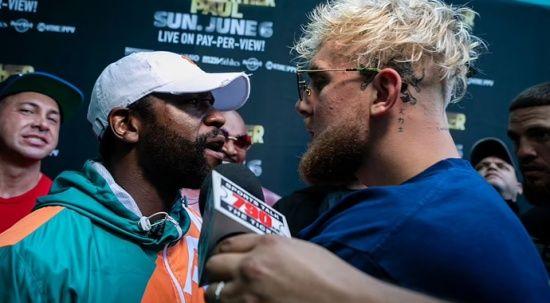 Floyd Mayweather ile YouTuber Paul Logan asrasındaki boks maçından önce kavga çıktı