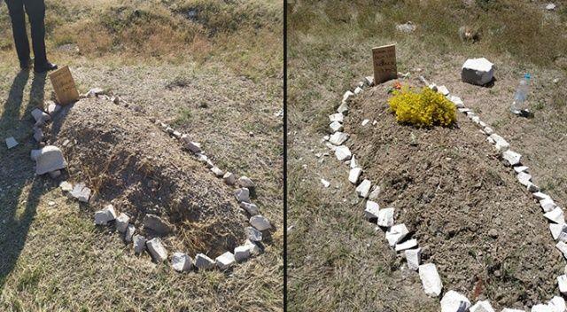 Boş arazide bulunan yeni yapılmış mezar paniğe neden oldu