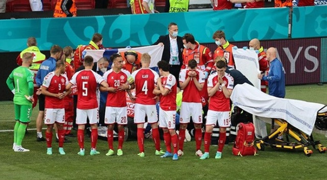 Eriksen'in fenalaşması nedeniyle yarıda kalan Danimarka-Finlandiya maçı kaldığı yerden başladı
