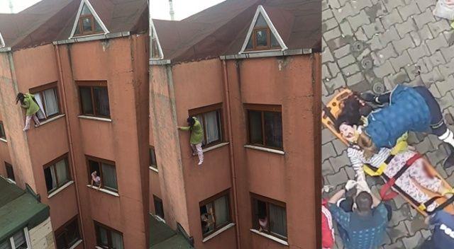 Genç kız kendini 4. kattan aşağıya attı