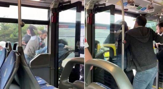 Metrobüste kavga! Tekme ve yumruklar havada uçuştu