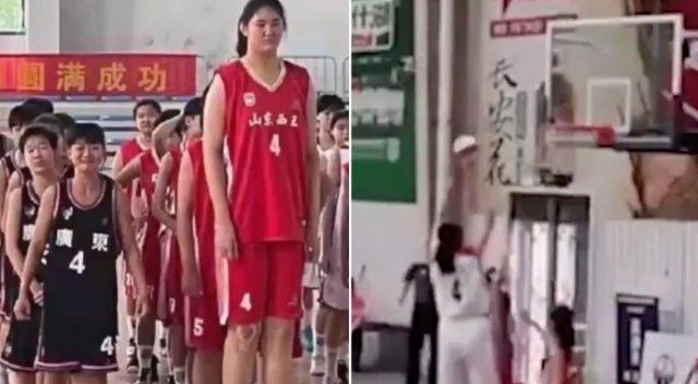 Daha 14 yaşında! 2,26'lık boyuyla geleceğin basketbol yıldızı