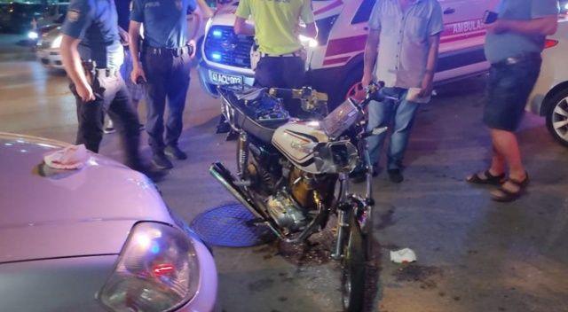 Motosiklet ile otomobil çarpıştı, sürücü yaralandı
