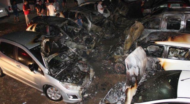 Otoparkta çıkan yangında 10 araç hurdaya döndü