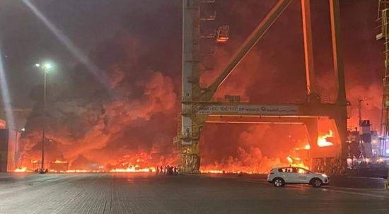 Dubai'de patlama sesi! Cebel Ali Limanı'nda yangın çıktı